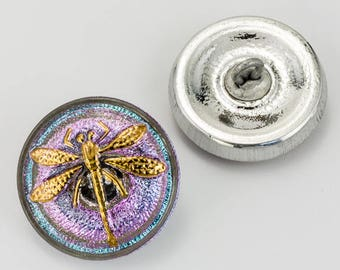 18mm Vitrail Light Luster Dragonfly Button #BUT013