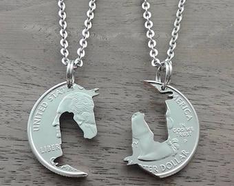 "Coin jewelry, Quarter dollar USA-partner pendant ""Yin Yang horse Head"""