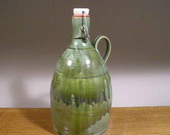 Ceramic Beer Growler , Handmade Growler, Stoneware Pottery Growler , Flip Top 64 ounce Beer Growler