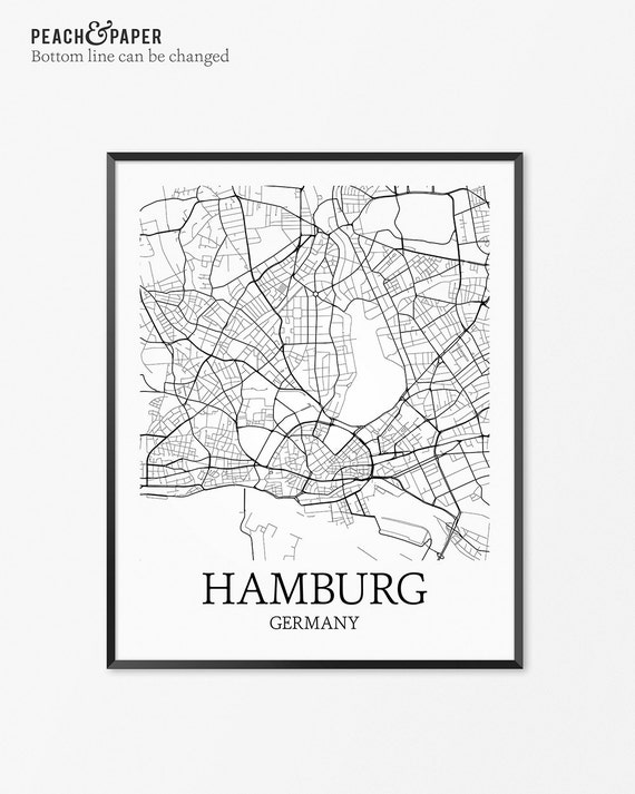 hamburg map art print hamburg poster map of hamburg decor. Black Bedroom Furniture Sets. Home Design Ideas
