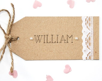 Rustic Kraft, Lace and Pearl Wedding Place Card Tag