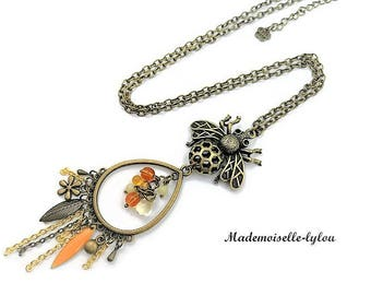 Steampunk drop necklace, Royal Bee, Czech beads necklace, insect necklace, steampunk bee royal topaz necklace