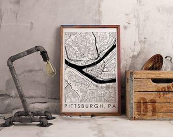 Line Map Printable - Pittsburgh, PA