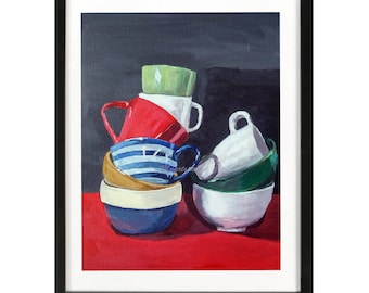 Balancing cups painting, red white blue, Kitchen wall art, ceramic bowl, Cups Red white, Kitchen Decor Red grey balancing cups wall hanging