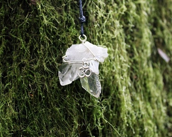 quartz crystal cluster necklace