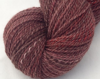 Hand Dyed Handspun Yarn, 2 Ply Sportweight BFL/Tussah Silk, 352y in Black Forest Cake