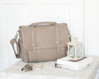 Stylish DSLR Camera Bag - Toupe Grey | Women Camera Bag | Fit 2-3 lenses | Fully Padded and customised Dividers