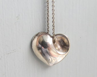 Sterling SILVER Tiffany and CO Folded Heart PENDANT