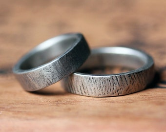 Rustic wedding ring set, silver bark rings, wedding band set, ethical wedding, matching wedding band sets, recycled silver, made to order