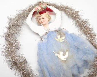 Early 1900's Victorian Tinsel & Die Cut Ballerina Christmas Scrap Ornament with Blue Cotton Skirt, Gold Dresden Birds