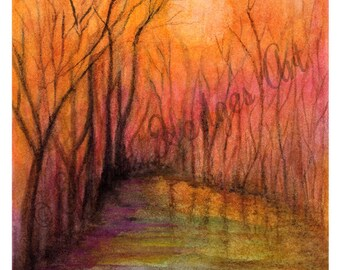 Misty Bayou Sunrise Print from Original Art, Louisiana, Wetlands Art