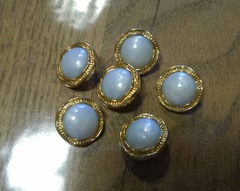Set of 6 buttons, gray and gold vintage 1.80 cm