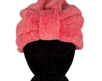 Microfibre Drying Hair Turban Cap Hair Care Treatment Protection Quick Drying Red