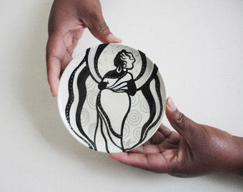 Big Mama Backside  Hand Painted Plate  Afrocentric Decor Ceramic Plate Birthday Gift