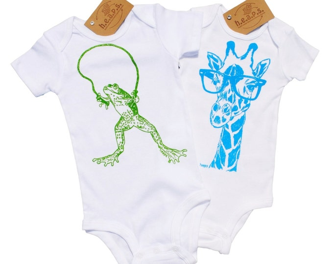 Trendy Baby Boy Clothes - Hipster Baby Clothes - Baby Bodysuits Set of 2 - Unique Baby One Piece - Sky Blue Giraffe Apple Green Octopus