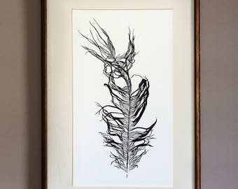 Feather linocut, hand printed feather, feather wall art