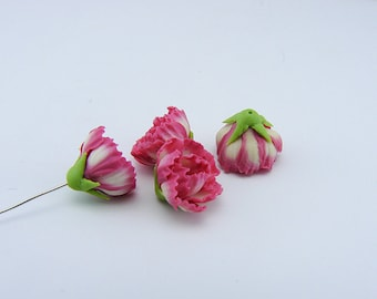5 pcs. or more peony pink flowers, polymer clay flower bead