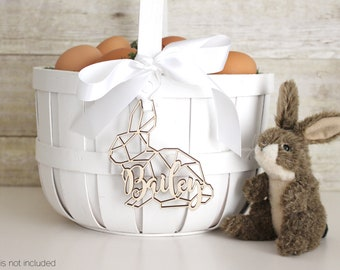 Personalized Easter Basket Geometric Scandi Bunny Rabbit Tag | Easter Basket Name Charm
