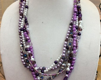 Purple and Silver Statement Necklace