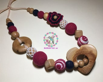Nursing necklace, breastfeeding, necklace for Mom, teething toy, crochet necklace, crochet teether