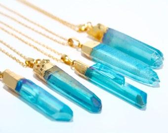 Aqua Aura Quartz Necklace, Blue Quartz Crystal Point Necklace, Boho Style Necklace, Blue Quartz Necklace, Blue Aura Quartz Necklace,