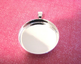 20Pieces/lot 25mm/1 inch Silver Plated Bezels Round Pendant Trays
