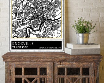Knoxville, Tennessee, Knoxville City Map, City Map, Map Print, Street Sign, Custom Map, City Print, Wall Art, Black and White Map, Map Decor