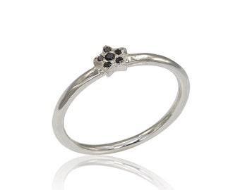 14K Diamond Ring, Star Engagement Ring, Black Diamond Ring, Stacker Engagement Ring, Stackable Diamond Ring, Bridal Ring, Gold Star Ring