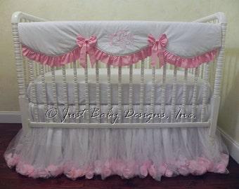 Baby Girl Crib Bedding Set Giselle White & Pink -Princess Bedding, White and Pink Baby Bedding, Bumperless Crib Bedding, Crib Rail Cover