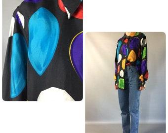Escada Laurel Silk 80's Blouse Designer Vintage Print Shirt Novelty Print Black Blouse Large Oversized Long Sleeve Authentic Ladies Blouse