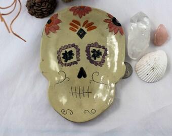 Skull Ceramic Plate - Flowers