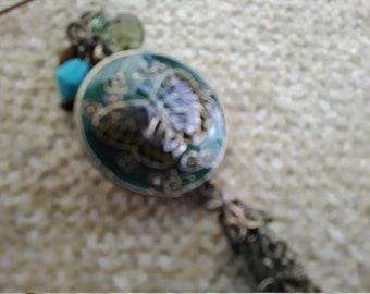Mid-Century Cloisonne look medallian disk chain drop earrings
