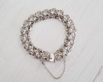 Polished Wide Sterling Silver 925 Woven Braided Open Circles Statement Charm Chunky Layering Stackable Link Bracelet