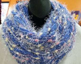 Bright Blue INFINITY SCARF in Baby Alpaca an premium Merino wool scarf with Medley
