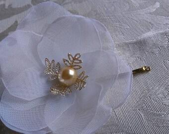 Hair Clips,  white Wedding Hairpiece , Bridal Hair Piece Bobby Pins, Bridesmaid Flower Wedding Hair Accessories Bridal Hair, Pins Set of 3