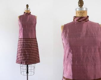 1960s Metallic Sorbet silk rose & bronze party dress / 60s vibrant mod
