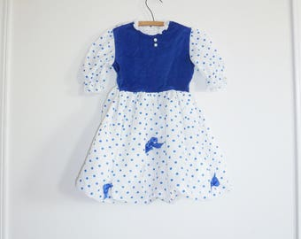 Vintage Blue Polka Dot Bubble Dress