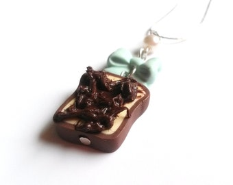 Chocolate Toast Necklace ( cute necklace food necklace gift for her food pendant miniature food funky jewelry food jewellery blue bow )