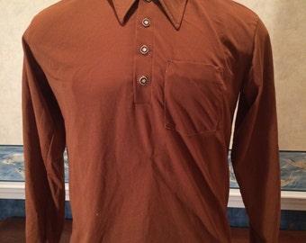 Vintage Copper Pullover - 1970s - Brown - Mens - Medium - David Honiseu - Unique Casual Wear - Preppy - Long Sleeve