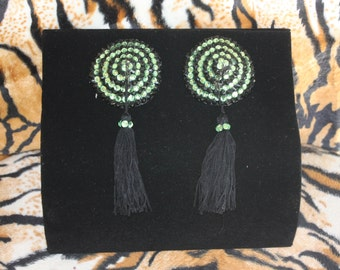 Burlesque Pasties Lime Green Black Stripe Tassels Pinup Psychobilly