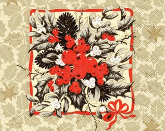 FLOWERS of Christmas 1 paper towel 055