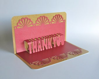 Thank you 3d pop up greeting card in metallic fuchsia on thank you 3d pop up greeting card in metallic blue on metallic silver home dcor handmade m4hsunfo