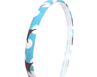 Skinny Retro Dots Headband - Turquoise, Chocolate and Beige