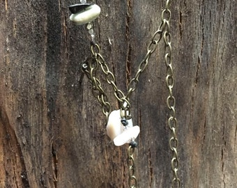 brass and stone lariat