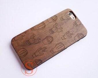 Cactus iPhone 8 case, Cute iPhone X case, Girly iPhone 7 case, Cool iPhone 6S case, Unique iPhone 7 Plus case, Wood iPhone case, DK-130