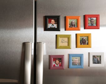 Wood, Magnet Picture Frame, Home Decor, Beautiful Vibrant Color, 2x2 Frame, Handmade ,  Instagram Frame, Refrigerator Magnet Picture Frame