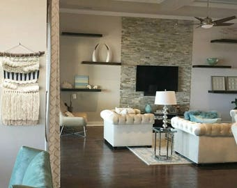 "Woven wall hanging, Macrame Wall Hanging, weaving, Textile fiber art ""Glam"""