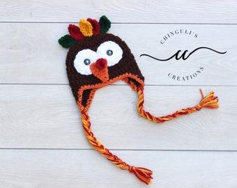 Turkey Hat, Turkey Beanie, Thanksgiving Hat Baby Turkey Hat Fall hat Crochet turkey Hat Thanksgiving photo props Newborn Turkey hat