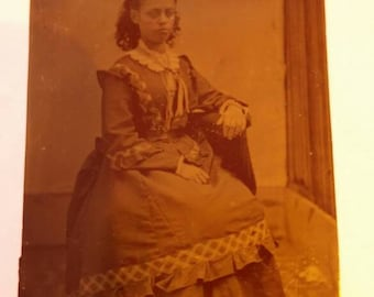 Antique Tintype Young Girl Seated Wearing a Very Lovely Dress.