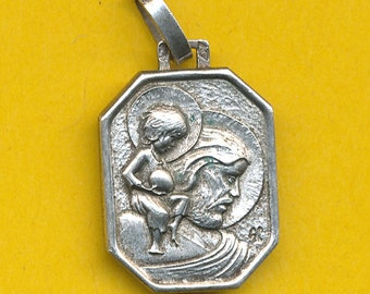 Art Deco sterling  silver religious charm medal pendant St Christopher (ref 0472)